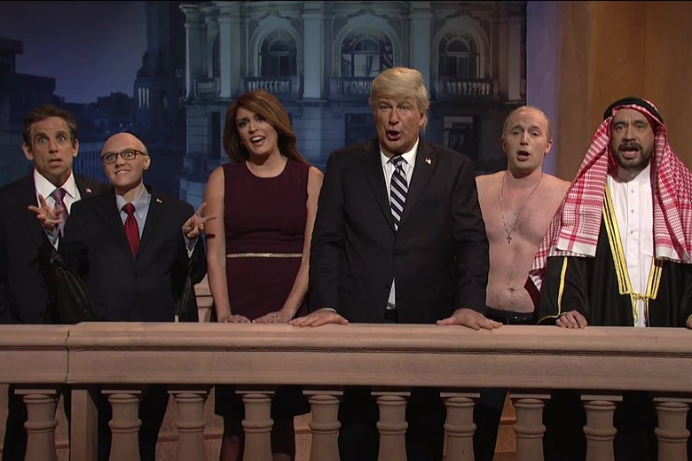 Ben Stiller, Kate McKinnon, Cecily Strong, Alec Baldwin, Beck Bennett, and Fred Armisen dressed up as various Trump administration figures.