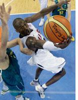 Kobe Bryant of the USA shoots as Andrew Bogut of Australia defends during the Men's Basketball Quarterfinal game at the Olympic Basketball Gymnasium during Day 12 of the Beijing 2008 Olympic Games on August 20, 2008 in Beijing, China. (Photo by Eric Gay/Pool/Getty Images) Click image to expand.