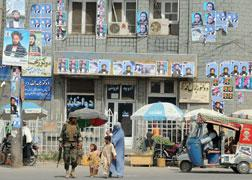 A building decorated with posters of Afghan presidential election candidates in Kandahar. Click image to expand.