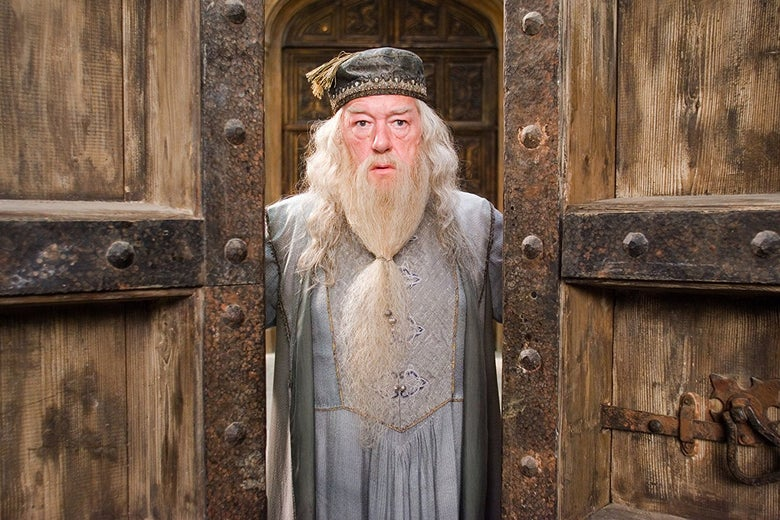 Michael Gambon, as the white-bearded Albus Dumbledore, stands in a doorway