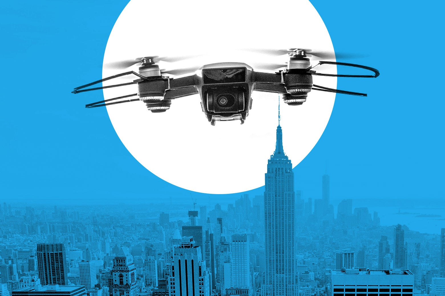 A drone flies over NYC.