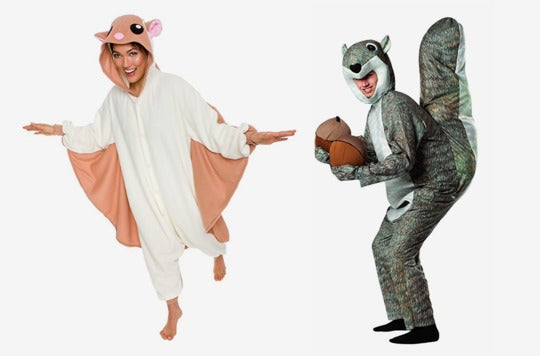 Couple dressed as squirrels.