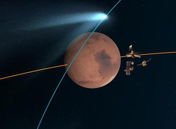 Mars and comet