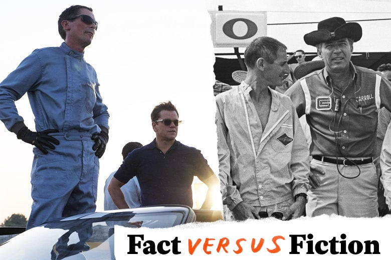 Christian Bale and Matt Damon in Ford v Ferrari and Ken Miles with Carroll Shelby.