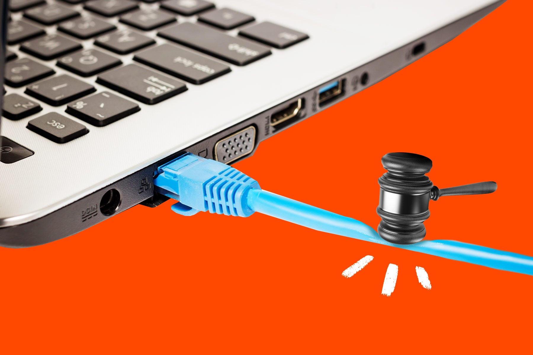 Photo illustration of a gavel coming down on an ethernet cable attached to a Mac laptop.