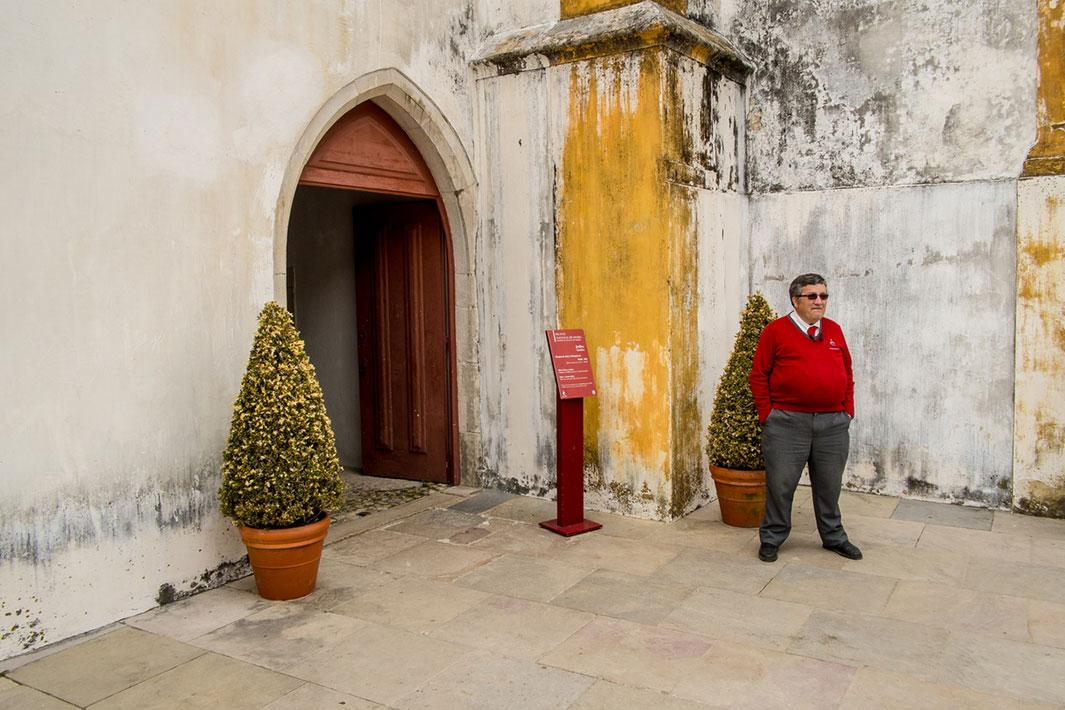 A guard stands at the entrance of the National Palace of Sintra in Sintra, Portugal, in 2013.