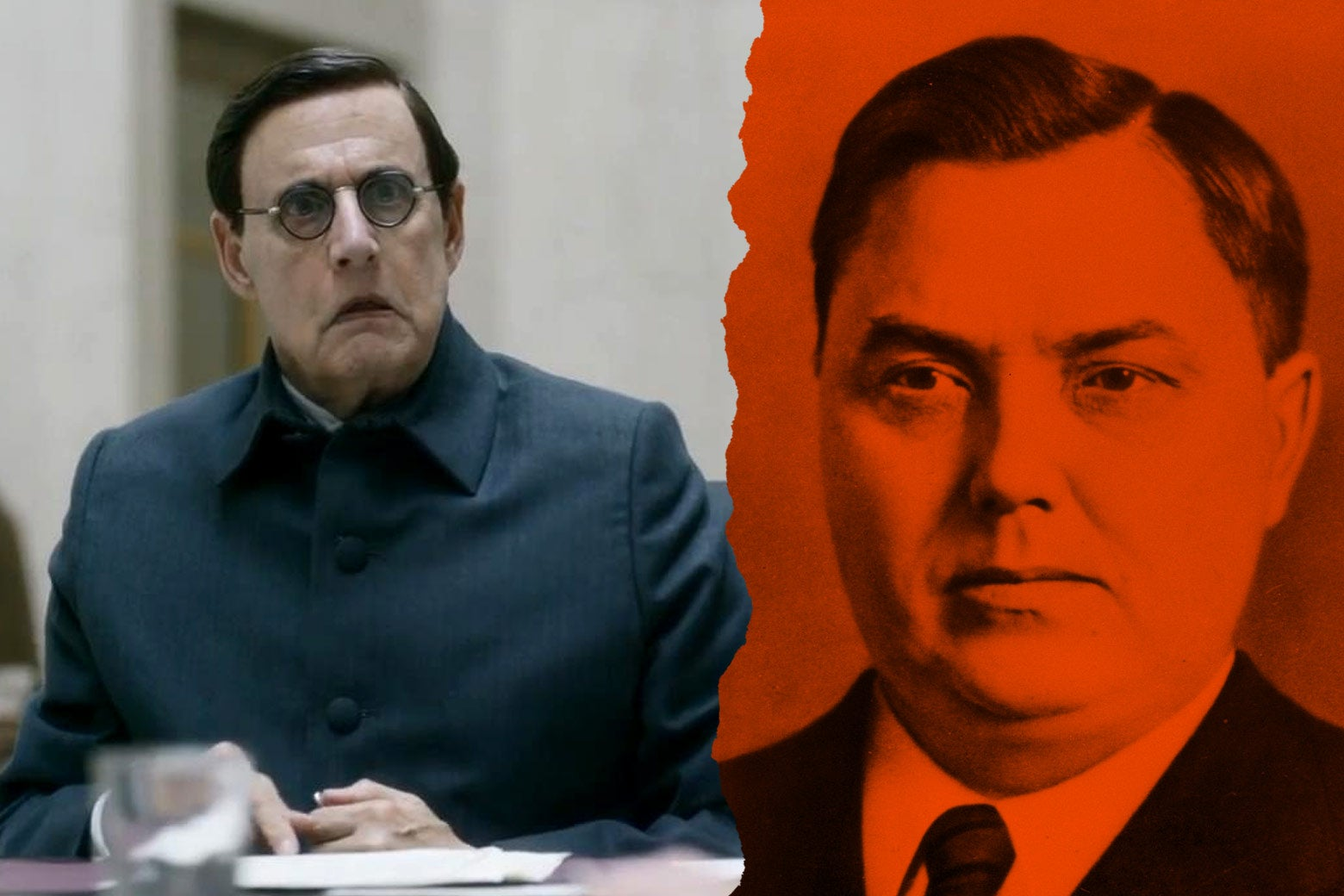 At left: Jeffrey Tambor as Georgy Malenkov in the film. At right: the real Georgy Malenkov.