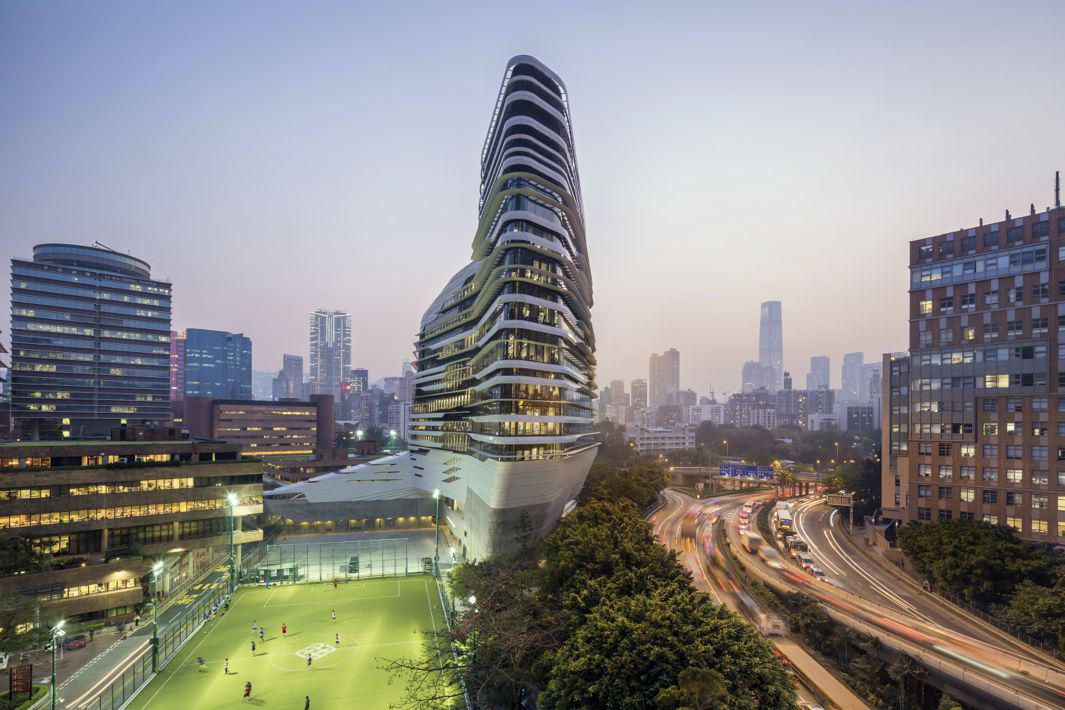 Jockey Club Innovation Tower, at Hong Kong Polytechnic University_photo by Doublespace