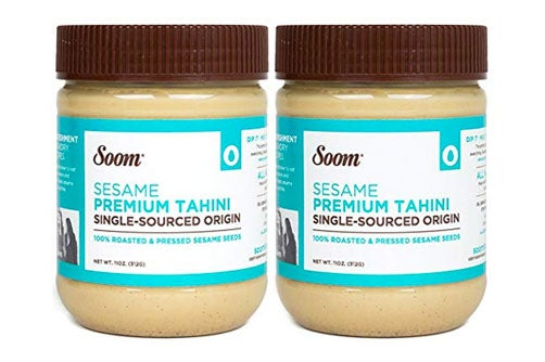 Two jars of Soom tahini.