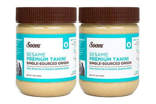 Two jars of Soom tahini.