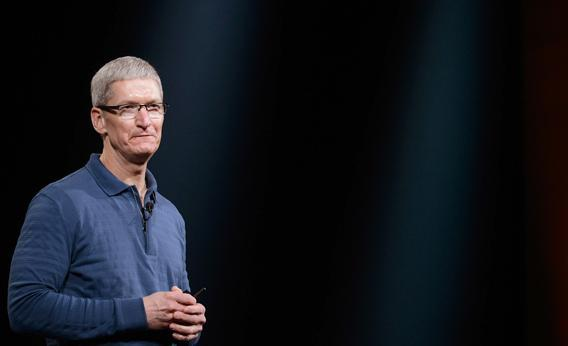 Apple CEO Tim Cook speaks during an Apple special event.