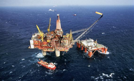 A drilling rig in the North Sea.
