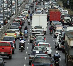 Cars stuck in a traffic jam.