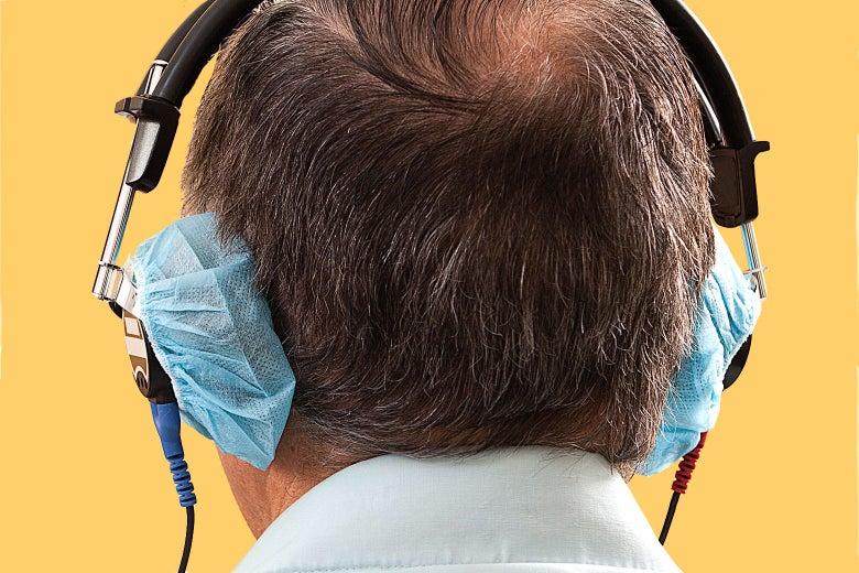 A man getting a hearing test.