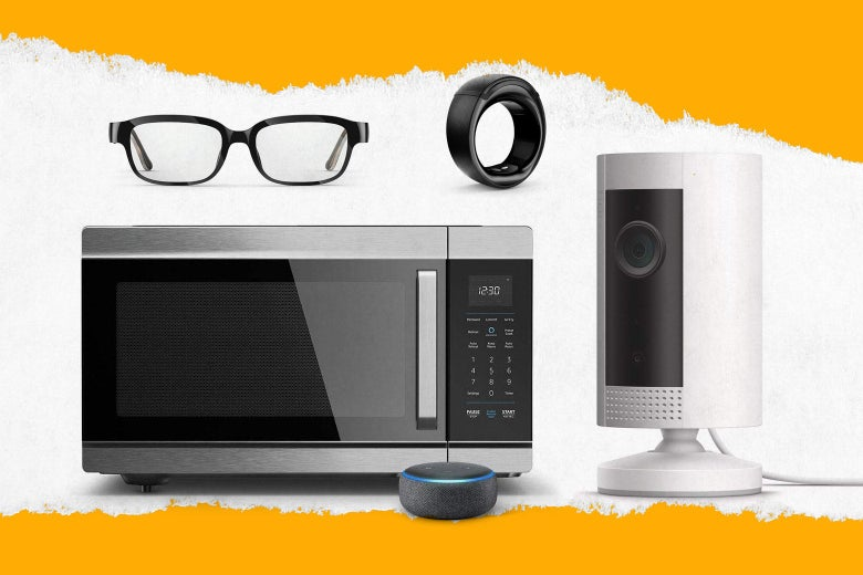Collection of Amazon smart products: Frames, Smart Oven, Echo, Stick Up Camera, Loop