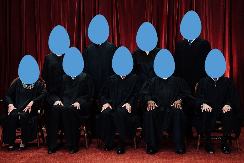 The justices of the U.S. Supreme Court, with their heads replaced by Twitter-egg avatars.