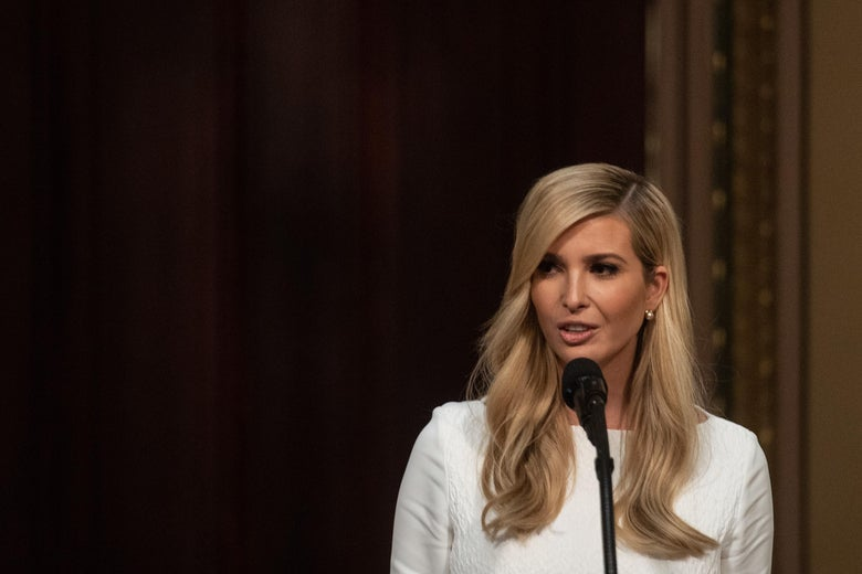 Ivanka Trump speaking at a lectern