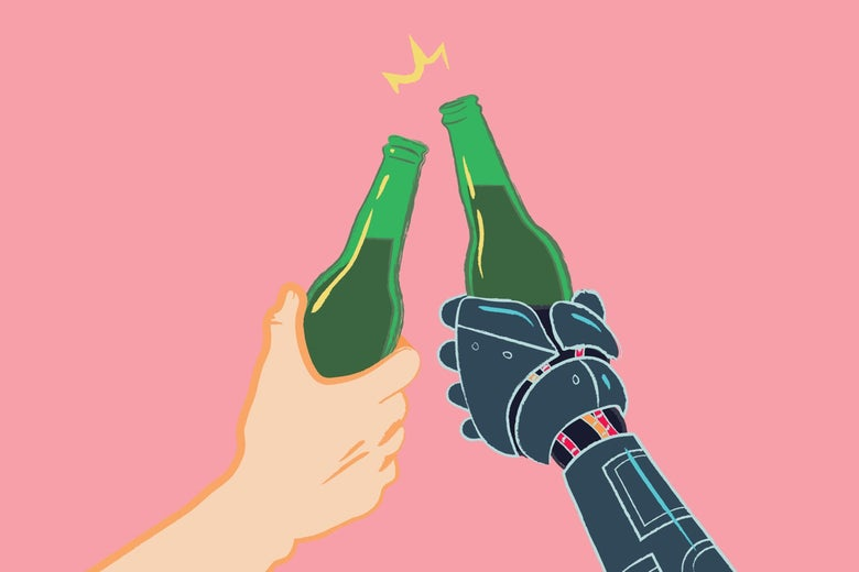 A human hand and a robot hand toasting with bottled beers.