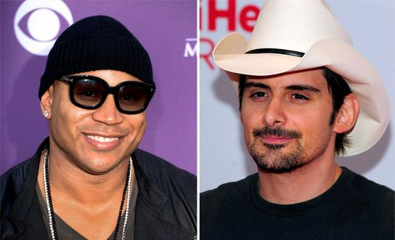 Rapper and actor LL Cool J, left, and musician Brad Paisley, right.