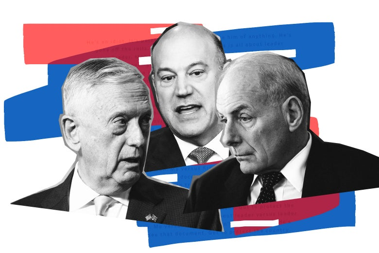 James Mattis, Gary Cohn, and John Kelly.