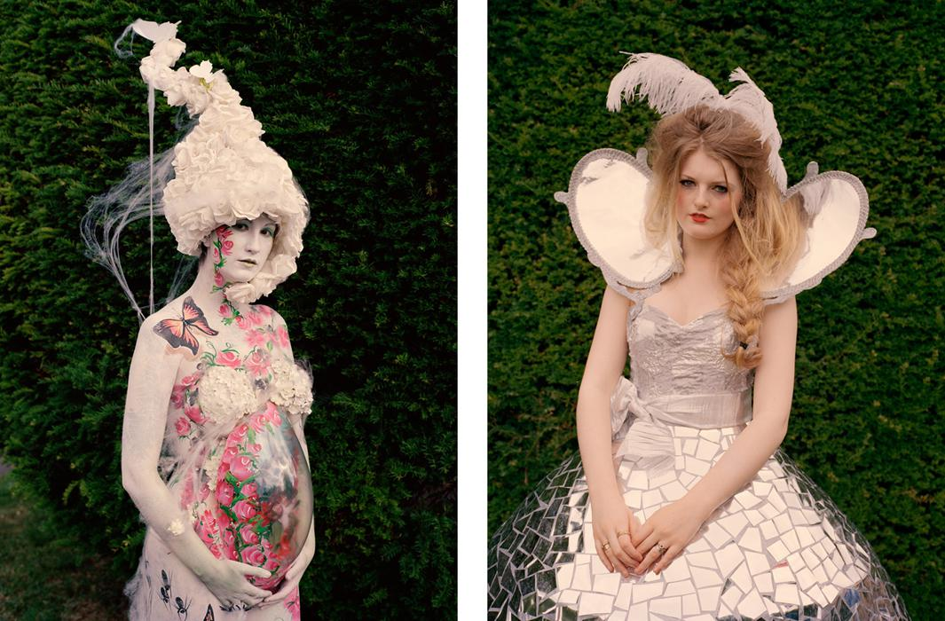 Left: Kerry Youngs at Art Couture Painswick dressed as Mother Earth. Right: Sophie Withers in a silver dress covered in mirrored mosaic.
