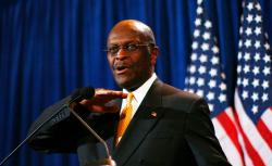 Herman Cain at his sexual harassment press conference.