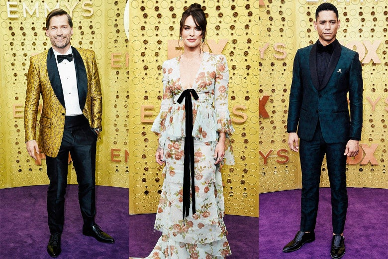 Nikolaj Coster-Waldau; Lena Headey; Charlie Barnett on the Emmys purple carpet.