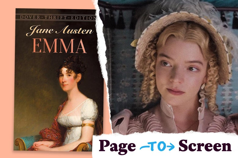 """Left: a Dover Thrift Editions copy of Emma by Jane Austen. Right: Anya Taylor-Joy in the 2020 adaptation of Emma. Her hair is in tight, blonde ringlets. A corner logo reads """"Page to Screen."""""""