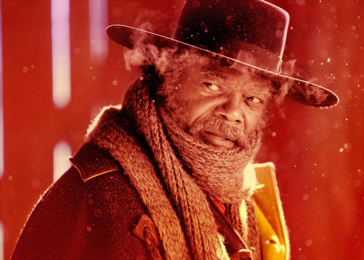 Samuel L. Jackson stars as Major Marquis Warren in The Hateful E,Samuel L. Jackson stars as Major Marquis Warren in The Hateful Eight.