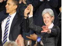 Barack Obama and Kathleen Sebelius. Click image to expand.