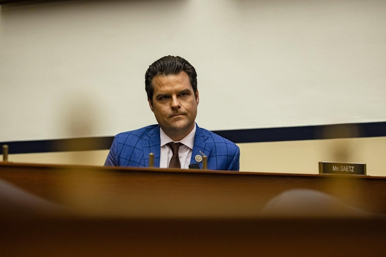 Representative Matt Gaetz (R-FL) during a House Armed Services Subcommittee hearing.