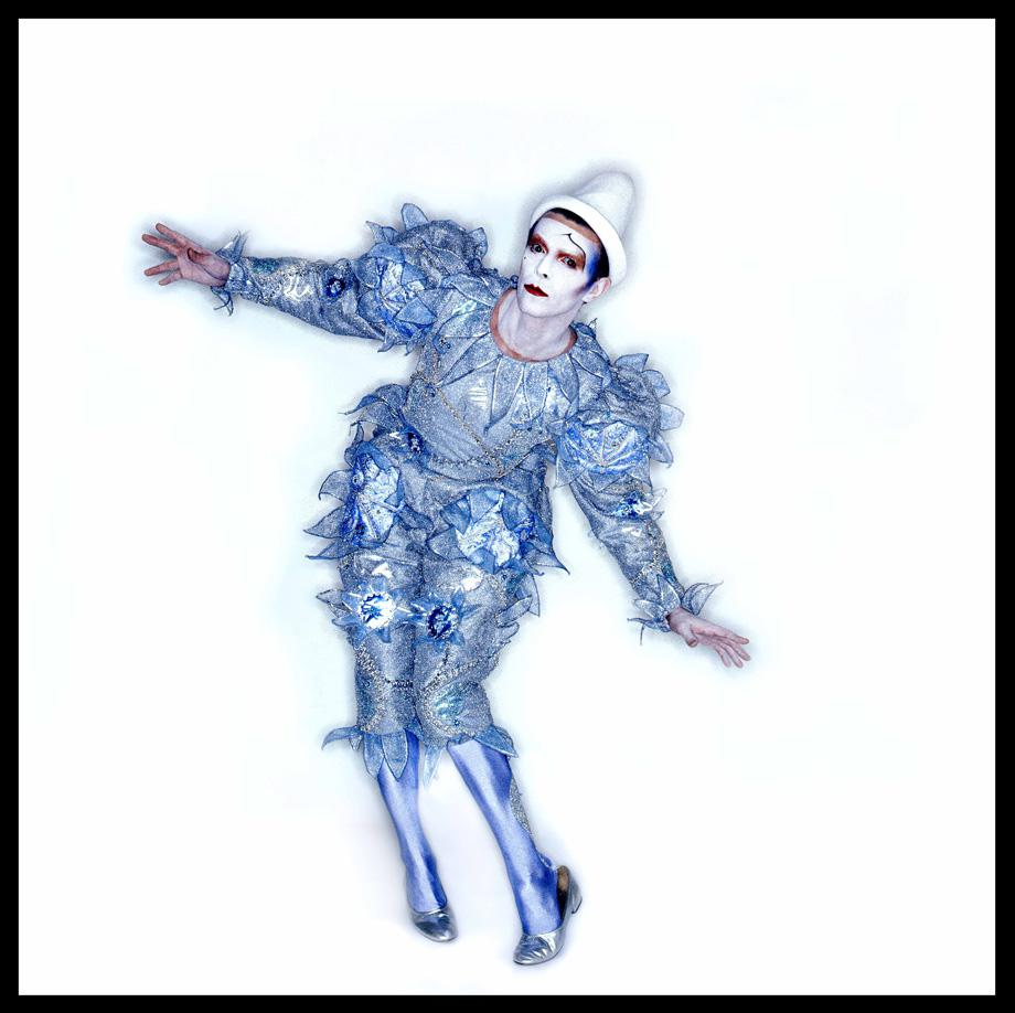 Pierrot (or 'Blue Clown') costume, 1980. Designed by Natasha Korniloff for the 'Ashes to Ashes' video and Scary Monsters (and Super Creeps) album cover.