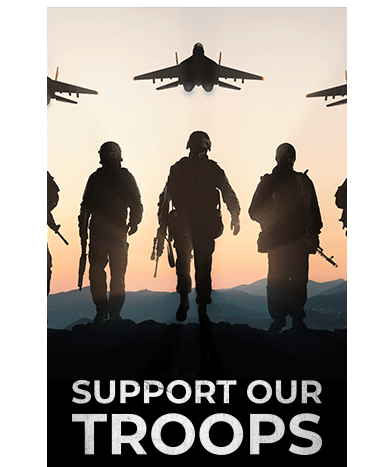 "A Trump campaign digital fundraising ad uses Russian jets flying over silhouetted soldiers walking in call to ""support our troops."""