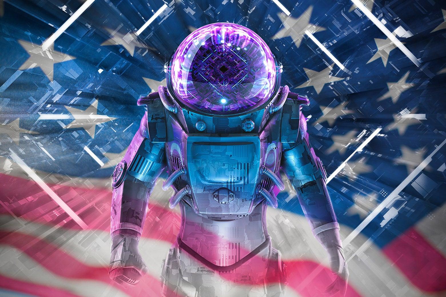 A patriotic Space Force trooper.