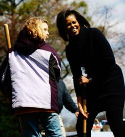 Michelle Obama at the groundbreaking of the White House Kitchen Garden