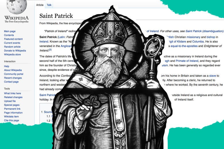 Photo illustration: An illustration of St. Patrick is superimposed on a screenshot of his Wikipedia page.
