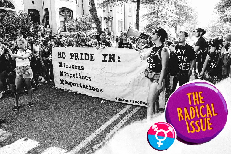 """No Justice No Pride"" protesters disrupt the 2017 Capital Pride Parade, carrying a banner that reads ""NO PRIDE IN: Prisons, Pipelines, Deportations."""