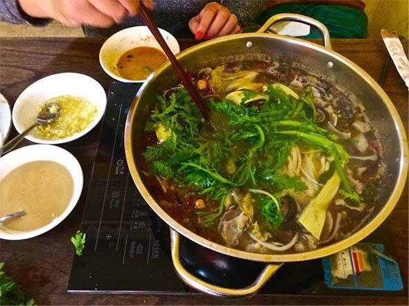 Hot pot with Tahini and garlic dipping sauce in Maadi.