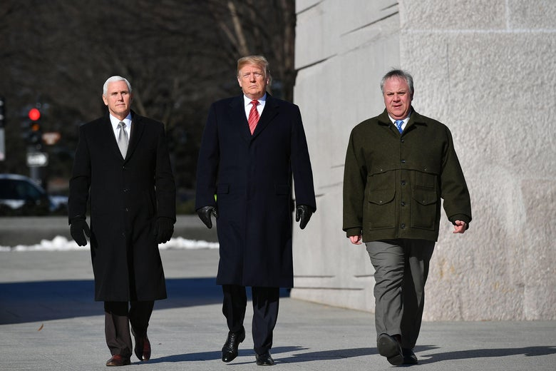 Vice President Mike Pence, President Donald Trump, and acting Interior Secretary David Bernhardt