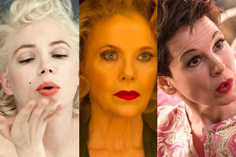 Michelle Williams in My Week With Marilyn, Annette Bening in Film Stars Don't Die in Liverpool, and Renée Zellweger in Judy.