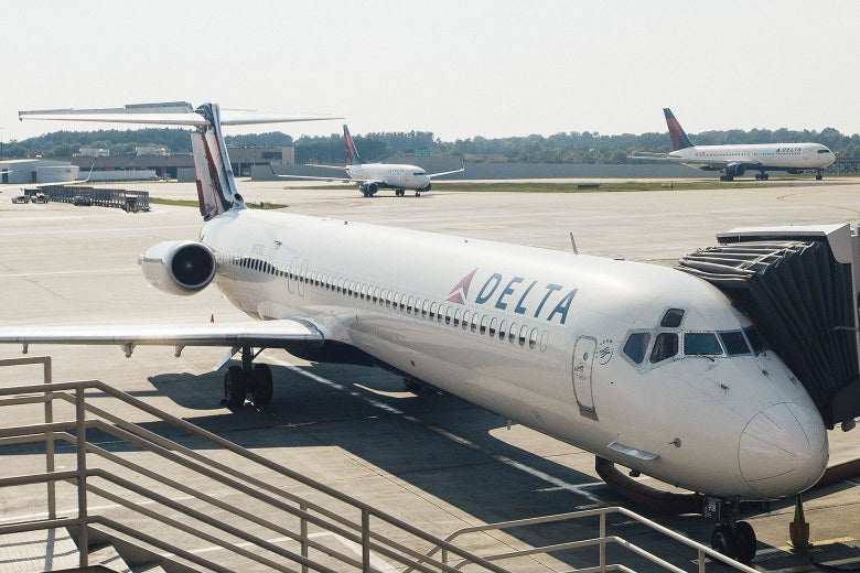 A Delta Air Lines plane at the Hartsfield-Jackson Atlanta International Airport on July 17, 2015.