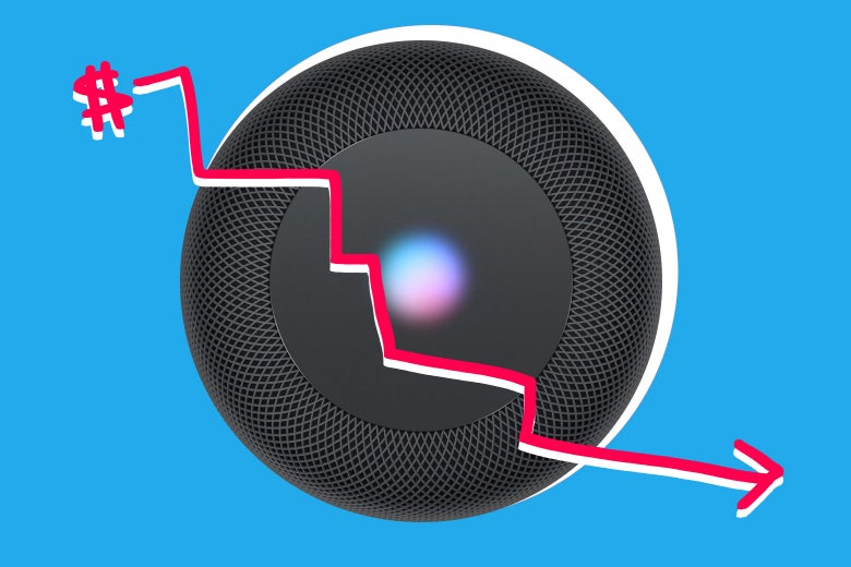 Photo illustration: HomePod with sales down graph arrow.
