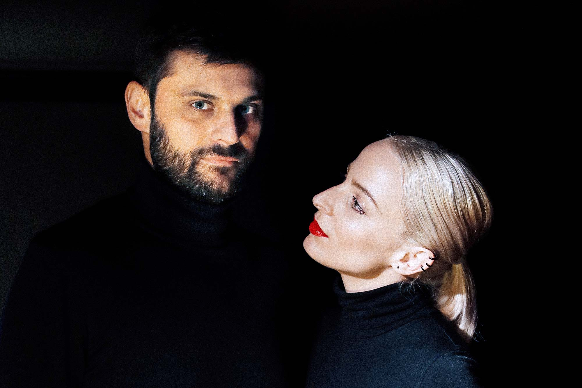 Musicians Émilie Satt and Jean-Karl Lucas of Madame Monsieur, who represent France in the Eurovision Song Contest 2018, posing after an interview with Reuters in Paris on Jan. 31.