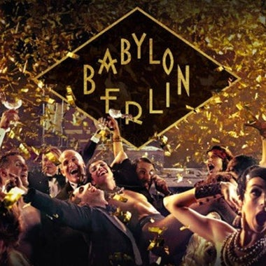 Title card for Babylon Berlin, featuring a flapper-style party scene.