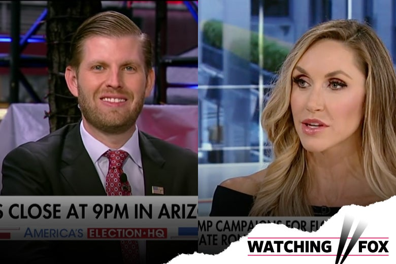 Eric and Lara Trump in their respective Fox News appearances