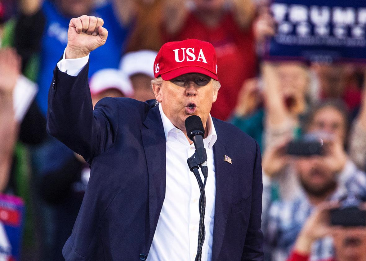 President-elect Donald Trump speaks during a thank you rally in Ladd-Peebles Stadium on December 17, 2016 in Mobile, Alabama.