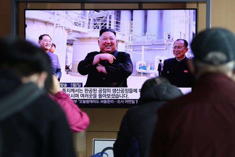 People watch a television broadcast reporting an image of North Korean leader Kim Jong-un during a news program on May 2, 2020 in Seoul, South Korea.