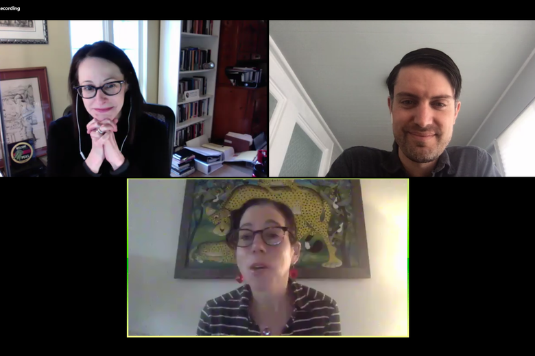 Two women and a men in a Zoom meeting