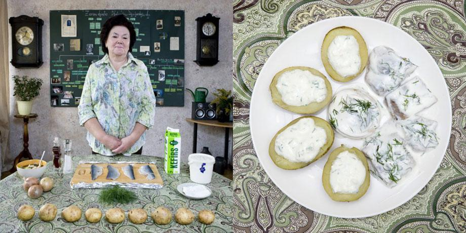 "Delicatessen witInara Runtule, 68 years old – Kekava, Latvia  – Silke €"" (herring with potatoes and cottage cheese) h love Inara Runtule, 68 years old – Kekava, Latvia"