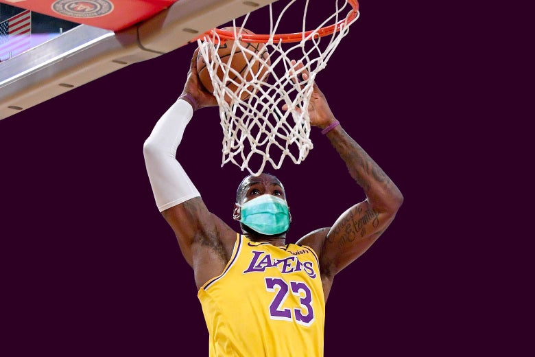 LeBron James dunking, with a surgical mask superimposed on his face